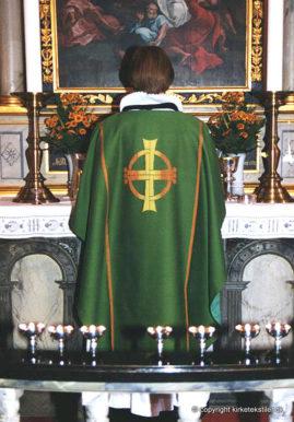 Damaskvævet grøn messehagel, Nørre Sundby kirke