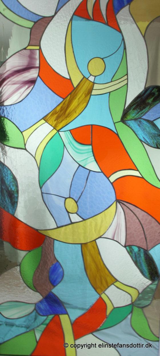 """""""Den åbne dør"""" blyindfattet glas, 150x70 cm"""